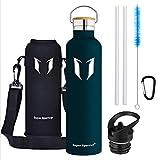 Super Sparrow Trinkflasche - 1000ml - Wasserflasche Doppelwandig Vakuum Isoliert Edelstahl - Auslaufsicher Sport Trinkflaschen | Ideale Flasche - BPA-freie - 2 Deckel + Tragetasche (1000ml-32oz, Jade)