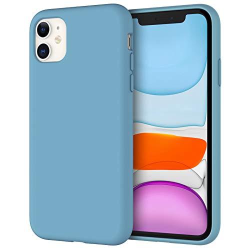 JETech Silicone Hülle für iPhone 11 (2019) 6,1-Zoll, seidigem Ganzkörper-Schutzhülle Hülle Cover, mit weichem Mikrofaser-Innenfutter stoßfestes Abdeckung (Kornblume)
