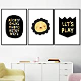 YHHZW Alion and Crown Letters Quote Nursery Wall Art Canvas Painting Dibujos Animados Carteles nórdicos e Impresiones Imágenes de Pared Kids Room Decor-40x60cm Sin Marco