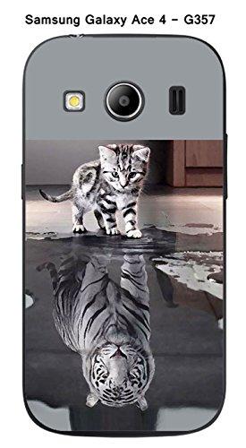Onozo Coque Samsung Galaxy Ace 4 - G357 Design Chat Tigre Blanc