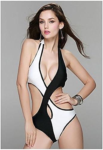 QPLA Clothing Thatch Maillot de Bain pour Femme Bikinis Maillots Deux pièces mode Sexy,noir and blanc,M