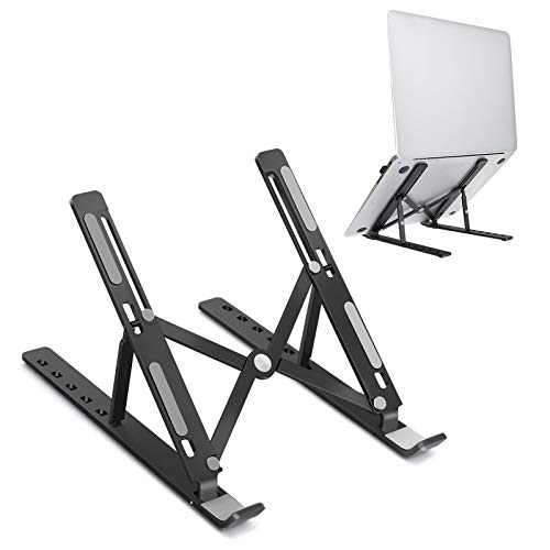 JARLINK Adjustable Laptop Stand, Foldable Aluminum Desktop Laptop Riser Compatible with All Laptops iPad Tablet (up to 15.6 inches), Black