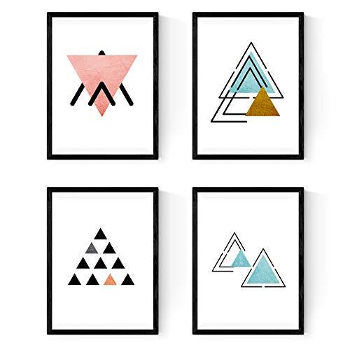 Set de 4 láminas para enmarcar ARRIBA Y ABAJO. Posters estilo nórdico con triángulos. Láminas con formas geométricas en tonos azules y pastel. Tamaño A4