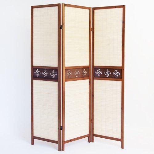 PEGANE Paravento in Legno Marrone Scuro con Tessuto di Guarnizione e bambù di 3 Pannelli