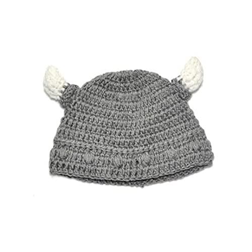 Beb Bull Horno Beanie Hecho a Mano Punto Vikingo Hat Cuerno Tapa De Cuerno para Nios Chicas Gris Beb Bull Horn Beanie