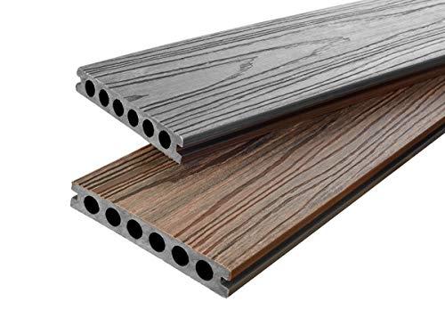 WPC Terrassendielen Nature Line Diele - Komplett-Set zweifarbig | 8m²(4m x 2m) | Boden-Fliesen + Unterkonstruktion & Clips | Balkon Boden-Belag + rutschfest + witterungsbeständig