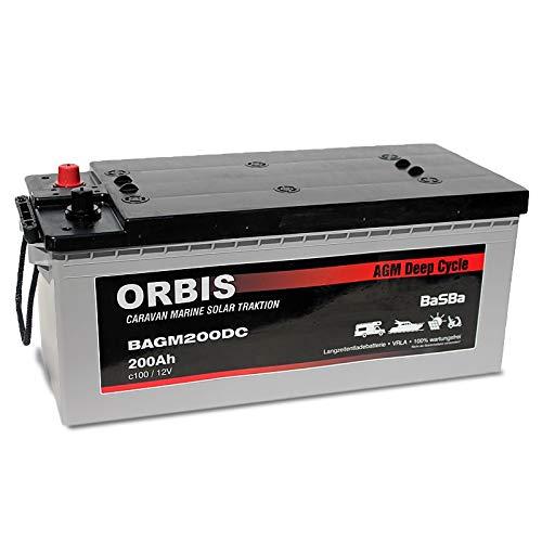 Preisvergleich Produktbild Orbis AGM Versorgungsbatterie Solarbatterie BAGM200 12 Volt 200 Ah c100