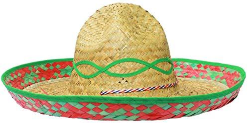 0821PVW0A0S ILOVEFANCYDRESS Un Sombrero Méxicain à Bordure Verte pour Adulte. Ideal pour Les enterrements de Vie de garçon ou de Jeune Fille. ( X100 )