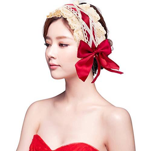 DreamJing Groß Rot Retro-Stil Haarreif Damen Haarschmuck zum Dirndl Hochzeit Braut Blumenmädchen Stirnband Zubehör Bogen-Spitze-Blumenkranz Haarbänder