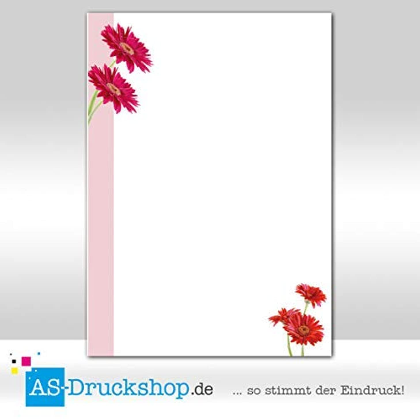 Design Paper Spring Pink Stripes with Red Flowers 100 Sheets DIN A5 90 g Offset Paper
