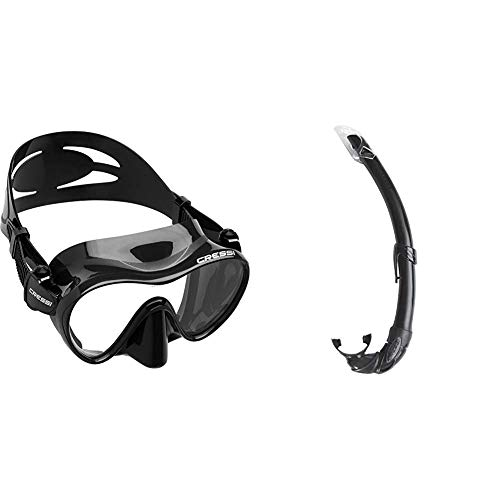 Cressi F1 Mask Máscara Monocristal Tecnología Frameless, Unisex, Negro, L + Mexico Tubo de Snorkel, Unisex-Adult, Negro, Un tamaño