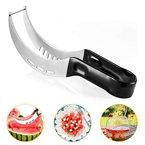 KIPIDA - Cortador de sandía, cortador de melón de acero inoxidable, cuchillo multifunción para sandía, cuchillo de fruta inoxidable con cuchilla en forma de gancho para papaya, pitaya, sandía, melón
