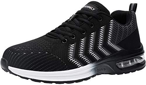 DYKHMILY Zapatillas de Seguridad Hombre Ligeras, Colchón de Aire Zapatos de Seguridad Hombre Trabajo con Punta de Acero Comodo Respirable Reflexivo Calzado de Seguridad Deportivo(42EU,Night Negro)