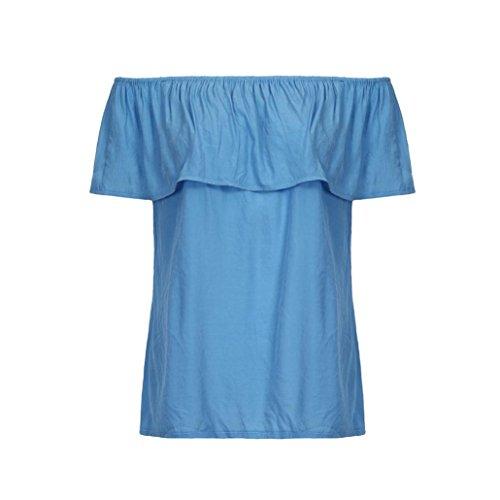 Toamen Top Femmes Été Sexy Décontractée Chemise de fête Haut d'épaule T- shirt Beau (M, Bleu)
