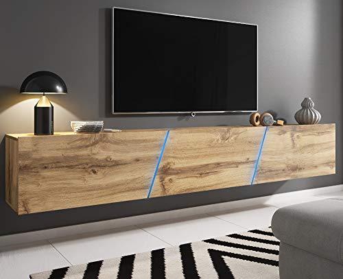 Space TV-Unterteil hängend oder stehend Lowboard inkl. RGB Beleuchtung 240 x 35 cm (Wotan Eiche)