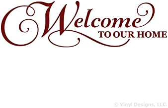 Welcome To Our Home Quote Vinyl Wall Decal Sticker Art, Removable Words Home Decor, Burgundy, 35in x 10in