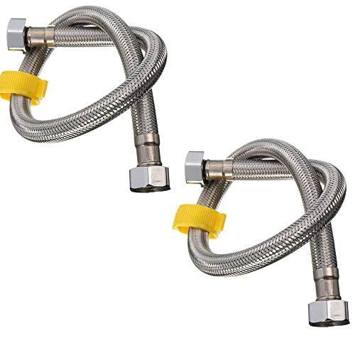 Q4 2 X Flexibler Chrom-Wasserschlauch. Für Badezimmer, Küche Wasseranschlüsse. 1/2