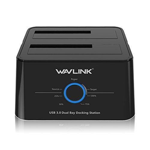 WAVLINK Base de conexión USB 3.0 a SATA Disco Duro Externo Docking Station Doble bahias con función de Clone Offline para Disco Duro, HDD, SSD 2,5 o 3,5 Pulgadas Soporta UASP Negro …