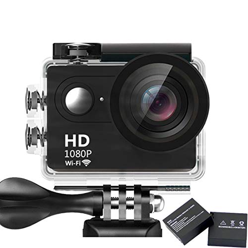 Mbylxk Action Cam 1080P WiFi Sport Kamera 30m Wasserdicht Ultra FHD 12MP Action Cam 170°weiter Winkel Actioncam mit 2 Batterien eine Reihe von Zubehör (schwarz)