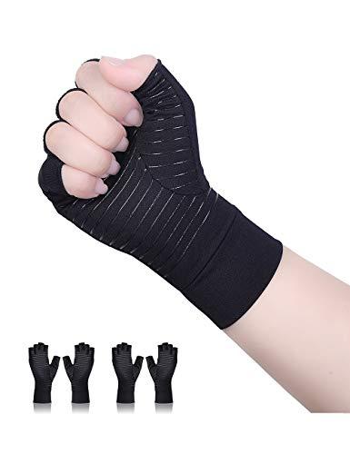 Donfri 2 Paare Fingerlose Arthritis Handschuhe Arthrose Kompressionshandschuhe fr Wrme Hnde Linderung von Schmerzen bei Rheumatoiden Karpaltunnel Sehnenentzndung fr Gaming Tippen Mnner und Frauen(L)