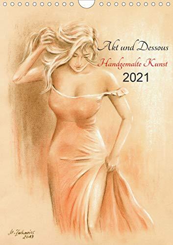 Akt und Dessous - Handgemalte Kunst (Wandkalender 2021 DIN A4 hoch)