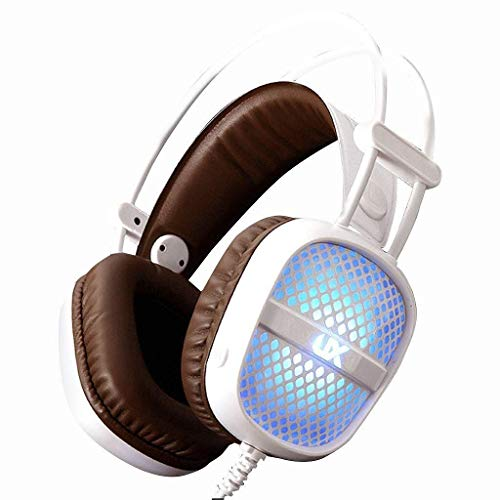 MZZYP sobre Oreja Auriculares Auriculares de computadora USB ON EUR E-Sports Gaming Auriculares con Conductor de 50 mm Auriculares con Cable Ligero Luz de Auriculares para Auriculares (Color: Blanco)