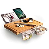 daily necessities ltd set tagliere in bambù estensibile, taglieri tagliere in bambù 4 contenitori per cucina con scanalatura succo per carne frutta e verdura