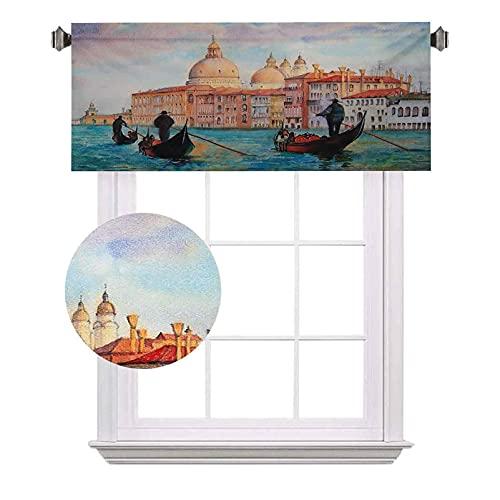 Cenefas cortas Venecia, acuarela, pintura de Venecia, góndolas antiguas, pintorescas, ahorro de energía para cortinas de baño, ancho 52 x largo 12 pulgadas, color melocotón azul pálido, rojo