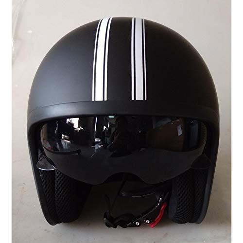 DataPrice Awen Casco Moto Abierto Homologado de Mujer y Hombre para Motocicleta, Ciclomotor y Scooter, Bicicleta ECE. Adhesivos y Llavero de REGALO. Modelos variados (L, Awen Arrow Custom Negro)