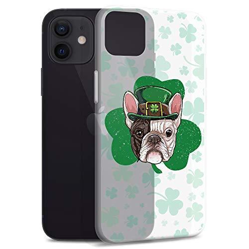 Compatible for iPhone 12 Pro Max Case Irish Shamrock Pattern Frenchie Dog Mom Leprechaun Hat TPU Shockproof Anti Bumps Scratches