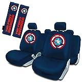 Capitán América Juego de Fundas Asiento Universales + 2 Almohadillas cinturón Universal Azul Marvel...