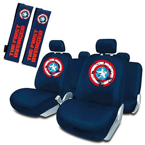 Capitán América Juego de Fundas Asiento Universales + 2 Almohadillas cinturón Universal Azul Marvel