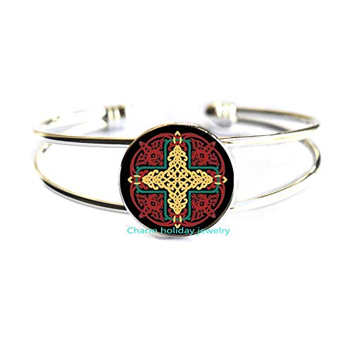 Celtic Jewelry-Red and Yellow Knotwork Mandala-1 Inch Diameter Glass Bracelet Bangle-#307