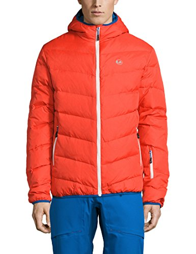 Ultrasport Herren Advanced Mylo Ski/Snowboard Daunenjacke, Orange/Victoria Blau, 3XL