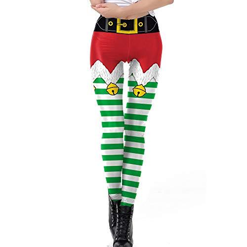 MEJOSER Leggings Navideños Leggins Pantalones Navidad Mujer Depotivos Elásticos para Deporte Fitness Yoga Correr