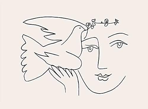 Picasso Pigeon Line mujer cara carteles abstractos e impresiones arte nórdico lienzo moderno sin marco pintura A2 30x40cm