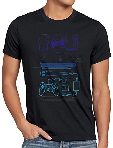 style3 PS2 Retro Gamer Herren T-Shirt PS Gamepad Konsole Classic, Größe:L, Farbe:Schwarz