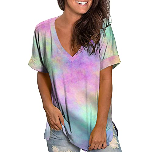 SNKSDGM T-Shirts für Damen Damen Casual T-Shirt Kurzarm Tunika Sweatshirt Tops mit Wasserfallausschnitt Bluse Pink 01