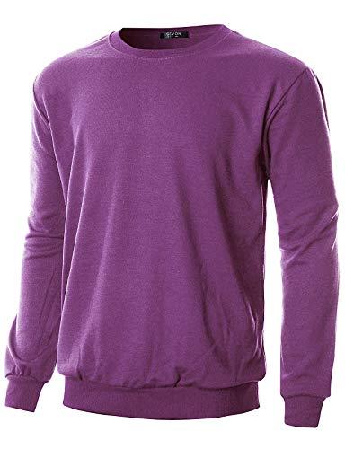 GIVON Mens Regular Fit Lightweight Crew Neck Sweatshirt/DCS005-PLUM-XL