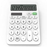 Calculadora GUYUCOM, Calculadora Grande de 12 dígitos con Pantalla LCD, Botón Sensible, Calculadora Financiera Solar y de Batería de Doble Potencia (Blanca).