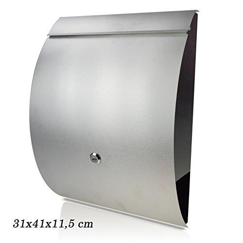 Chrom/Metallic Briefkasten mit Zeitungsfach, Design & Modern Briefkasten Postkasten Mailbox A4 Einwurf-Format Abschließbar Noyan® (Gebogen)