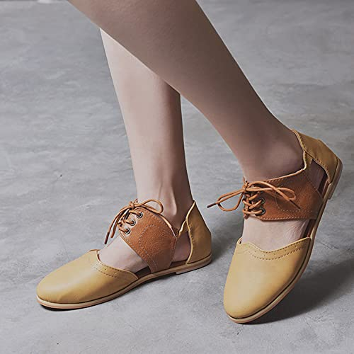 Hwcpadkj Sandalias de para Mujer, Zapatos de cuña con Plataforma Bohemia, Zapatos de Playa de Roma para Mujer, Pantuflas Planas con Cordones y Punta Abierta,Amarillo,43