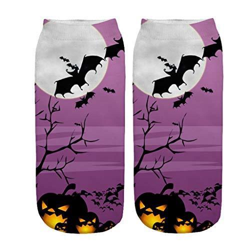 1 Paar Halloween-Damen Pumpkin Drucken Socken,3D Socken-mit Fledermaus Printing Bunte Socken,Lustige Socken Kurz Socken URIBAKY