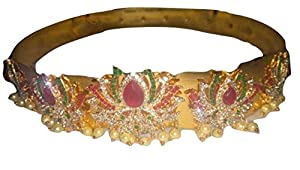 SingleClickShopping Lotus Design Gold Copper Kamarband for Women-Large
