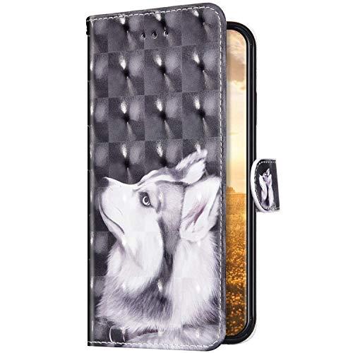 Uposao Kompatibel mit Samsung Galaxy A01 Hülle Schutzhülle Leder Hülle Glänzend Bling Glitzer Muster Vintage Handyhülle Tasche Klapphülle Wallet Flip Case Ständer Kartenfächer,Weiß Hund