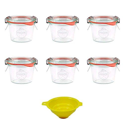 Viva Haushaltswaren - 6 x kleines Weckglas/Einmachglas 80 ml mit Deckel in Sturzform, leeres Rundrandglas zum Einkochen - als Marmeladenglas, Dessertglas (inkl. Klammern, Ringen & Trichter)