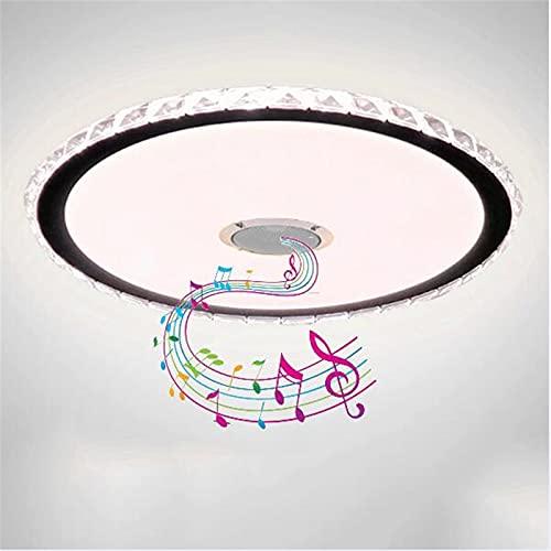Lámpara De Techo De Cristal Con Altavoz Bluetooth,Plafón LED De Música Inteligente,App Y Control Remoto,Lámpara De Suspensión Regulable RGB Para Fiesta Familiar, Sala De Estar, Cocina,50cm60w