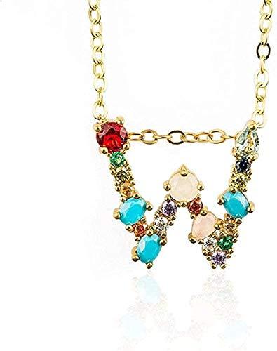 Yiffshunl Collar de Moda W - Mujeres exquisitas DIY Letra Inicial Colgante de Collar con Alfabeto con Nombre Accesorios de joyería creativos Regalo para Novia
