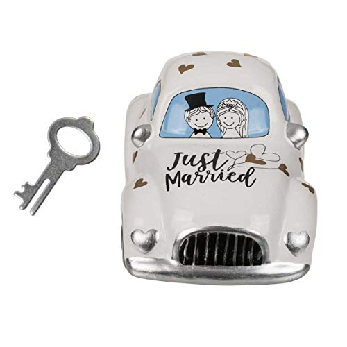 Hucha con Cerradura, Coche de Boda, Just Married, Aprox. 16 x 8,5 cm