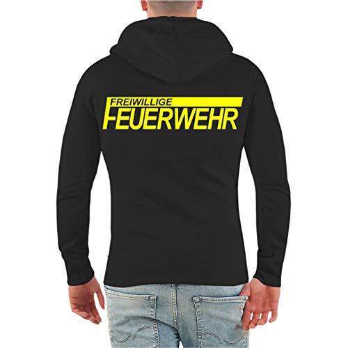 Spaß kostet Männer und Herren Kapuzenjacke FFW Freiwillige Feuerwehr NEONGELBER Druck (mit Rückendruck) Größe S bis 8XL
